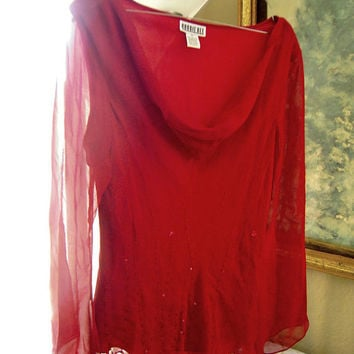 Red flared sleeve sequin cowl neck silk blouse top, red beaded top, size 12, ruby red blouse, trumpet sleeves, lined see through blouse.