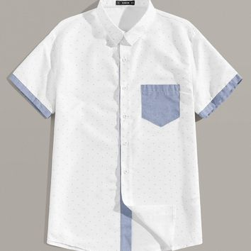 Men Pocket Patched Two Tone Shirt