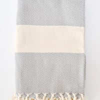 Organic Turkish Cotton Towel - Herringbone Gray