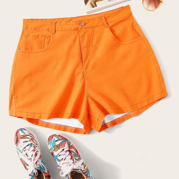 Plus Neon Orange Denim Shorts