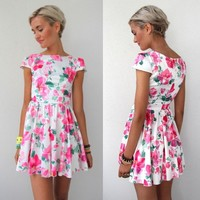 WATERCOLOUR FLORAL HIGH WAISTED CAP SLEEVE SKATER TEA DRESS 8
