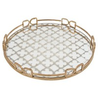 Mirrored Decorative Tray with Quatrefoil Design - Gold