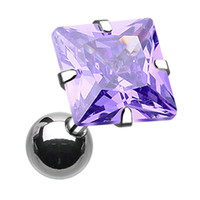 Square Glass-Gem Crystal Cartilage Tragus Earring