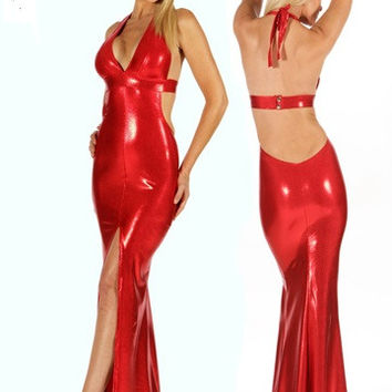 Sexy Red Metallic Halter Gown With Front Slit