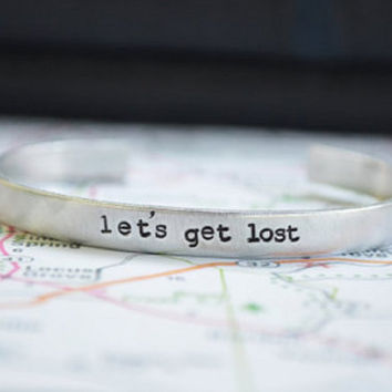 Valentines Day Gift . Let's Get Lost Cuff Bracelet . Gifts for Traveler - Romantic  - Valentine's Day - Unisex - Under 25 - Personalized
