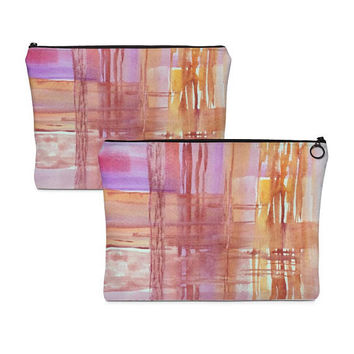 Pink makeup bag, Travel bag, Toiletry Bag, Zipper Accessory Pouch, Purse Organizer, Watercolor bag, Unique Pencil Case, Abstract painted bag