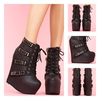 Jeffrey Campbell Black Thunder Wedge Boot   Jeffrey Campbell Shoes
