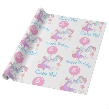 Personalized Name Unicorn Birthday Party Gift Wrap