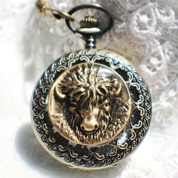 Buffalo pocket watch,  Men's buffalo pocket watch  in bronze