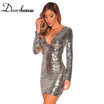 Dear lover Silver Sequin Dress Autumn Winter V Neck Long Sleeve Women Office Dresses Sexy Party Night Club Dress 2016 LC22795