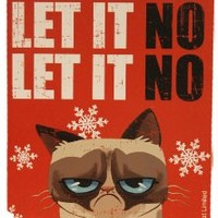 "Grumpy Cat 8"" x 5"" 3D Wall/Desk Block ""Let It No"" Christmas Decoration"