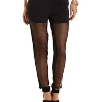 Mesh Cut-Out High-Waisted Trousers by Charlotte Russe - Black
