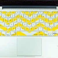 "Kuzy - Yellow Chevron Zig-Zag Keyboard Cover for MacBook Pro 13"" 15"" 17"" (with or w/out Retina Display) iMac and MacBook Air 13"" Silicone Skin - Yellow"