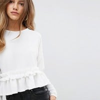 Boohoo Petite Ruffle Trim Top at asos.com