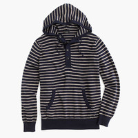 J.Crew Mens Slim Cotton-Cashmere Striped Henley Hoodie