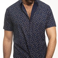 Navy Blue Dragonflies Print Short Sleeve Shirt - Kenneth Size S Available