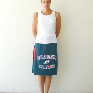 Women's Philadelphia Eagles T Shirt Skirt Tshirt Skirt Straight Red White Blue Teal Green Recycled Knee Length Cotton Soft ohzie