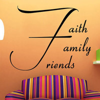 Wall Decals Vinyl Decal Sticker Quote Faith Family Friends Lettering Home Interior Design Art Murals Bedroom Living Room Decor KT156 - Edit Listing - Etsy