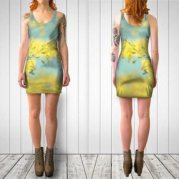 Women's Art Fitted or Flare Dress Sunny Blooms 2 fine art Modern Flower photography Fashion bright yellow mod circle pastel blue abstract