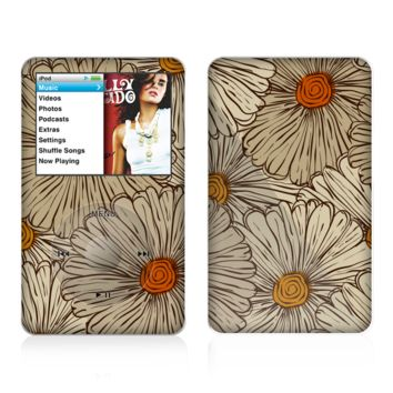 The Tan & Orange Tipped Flowers Pattern Skin For The Apple iPod Classic