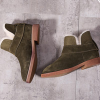 Grind arenaceous ugg boots female leather boots with velvet wool warm cotton shoes with flat sole Army green