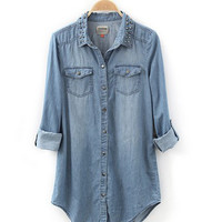 HOT! Womens lady girl Retro long sleeve blue jean denim shirt tops blouse Rivet
