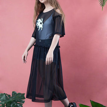 Mesh tulle dress,Embroidered Mesh Sheer Midi Dress, black tulle dress, unicorn dress, unicorns emboidery