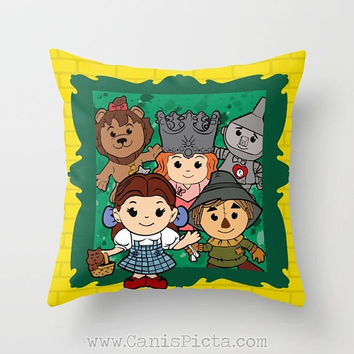 Kawaii Wizard of Oz 16x16 Graphic Print Decorative Throw Pillow Cushion Cover Scarecrow Cowardly Lion Glinda Toto Dorothy Good Witch Yellow