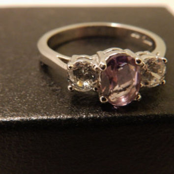 Sterling Silver Oval Amethyst Ring Size 7