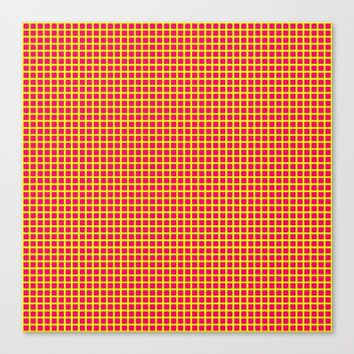 Yellow On Pink Grid Canvas Print by Moonshine Paradise