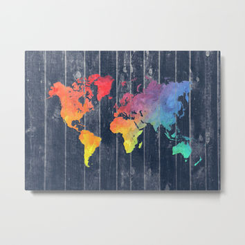 world map 97 colors blue #worldmap #map Metal Print by jbjart
