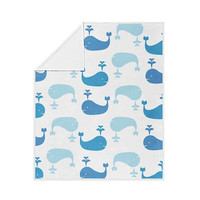 Whale Pattern Fleece Blanket