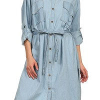 Casual Roll-Up Sleeve Button Down & Draw String Knee Length Denim Shirt Dress