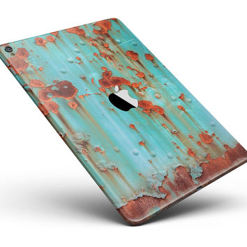 """Teal Painted Rustic Metal Full Body Skin for the iPad Pro (12.9"""" or 9.7"""" available)"""