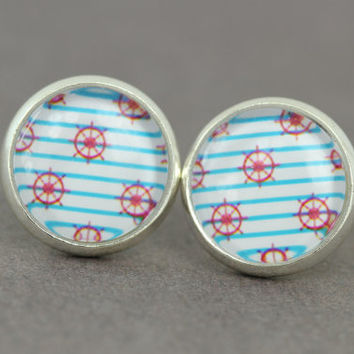 Fake Plugs : Red, Blue and White Nautical Stud Earrings, Beach, Ships Wheel, Stripped, Cabochon, Flat Back, ArtisanTree, Handmade in Canada