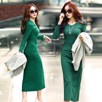 Dresses Autumn Winter Fashion Pure Color Maxi Long Knitting Cotton Dress Elegant Noble Body Sexy Women's Basic Clothes 8813 = 1930551428