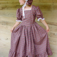 Handmade Historical Costumes Pioneer Girl American Colonial Girl -Brown Prairie Dress- Child sizes up to 14