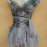 "RESERVED 20%OFF pixie inspired grey cotton bustier top..,,small to 38"" bust..."