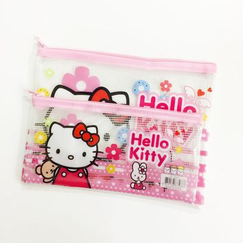 1X Cute Kawaii Hello Kitty Grid Pencil Pen Bag File Case Student Stationery Kids Gift Storage Container Phone Bag