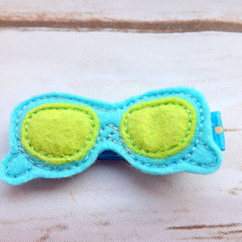 Sunglasses hair clip, felt aqua sunglasses hair accessory, shades clip, holiday hair clip, beach hair summer girls felt hair clips UK seller