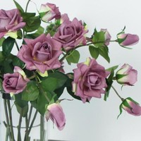 """Real Touch 3 Rose Bloom Stem in Purple 33"""" Tall"""