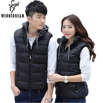 WEONEDREAM Vest Men suit New 2017 Stylish autumn winter High Quality Hood Warm Sleeveless Jacket Waistcoat Men (Asian Size)