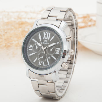 Great Deal Awesome Stylish Designer's Gift Trendy Good Price New Arrival Luxury Men Stainless Steel Silver Quartz Watch [6542573635]