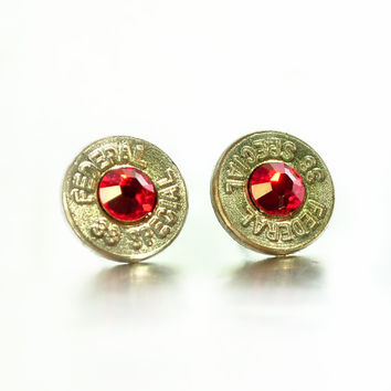 Bullet Stud Earrings - Silver and Red