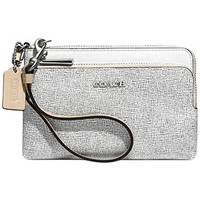 COACH DOUBLE L-ZIP WRISTLET IN COLORBLOCK MIXED LEATHER