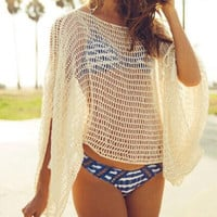 Loose Knitted Crocheted Beach Bikini Cover Up B0013895