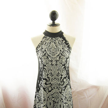 Gothic Steampunk Black Cirque Bohemian Summer Moroccan Indie Hippie Paisley Swing Halter Dipped Tunic Alice in Wonderland Halter Dress y Top