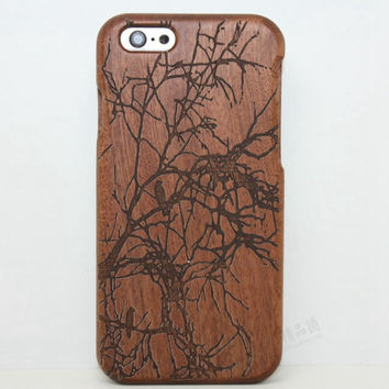 Branch Wood Case bird Solid wood Retro Wooden New Cover Carving flower Patterns Wood Slice Plastic Edges Back Cover for Iphone 6 case iPhone 6 Plus
