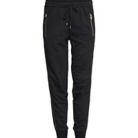 H&M - Decorated Sweatpants - Black - Ladies