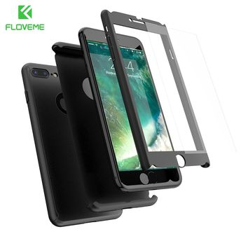 FLOVEME Case For iPhone 6 6S 7 Plus 5 5S Full Protective 360 Degree Back Cover For iPhone 6 6S 7 Plus Tempered Glass Film Shells